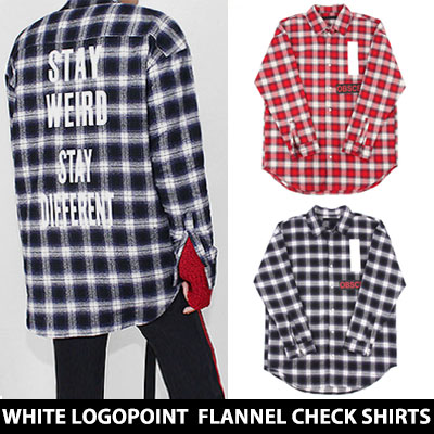 [UNISEX] WHITE LETTERING POINT FLANNEL CHECK SHIRTS(2color)