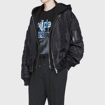 [UNISEX] DUCK DOWN/SIDE ZIPUP REMOVABLE HOOD BOMBER