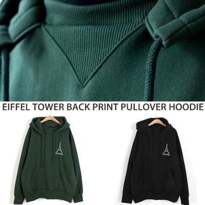 [UNISEX] EIFFEL TOWER BACK PRINT PULLOVER HOODIE(2color)