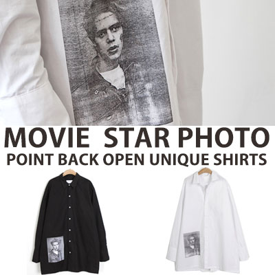 [UNISEX] MOVIE STAR PHOTO POINT BACK OPEN UNIQUE SHIRTS(2color)