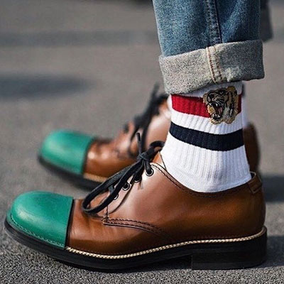 [UNISEX] TIGER EMBROIDERY LINE SOCKS