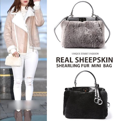 [real lamskin+lamfleece]High quality/SHEARLING FUR MINI BAG(2color)
