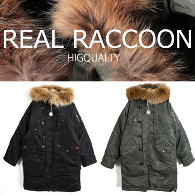 [UNISEX] REAL RACCOON FUR/DUCK DOWN LONG JACKET/cold protection(2color)
