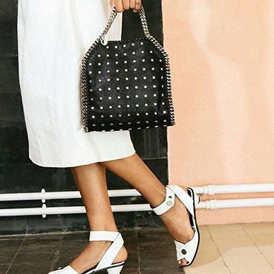 STAR STUD PATTERN CHAIN TOTE/SHOULDER BAG