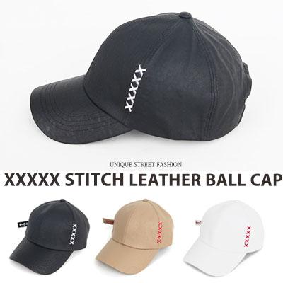 [UNISEX] XXXXX STITCH POINT LEATHER BALL CAP(3color)