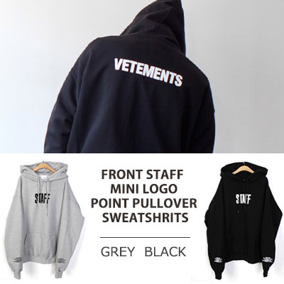 [UNISEX] FORNT STAFF MINI LOGO POINT PULLOVER SWEATSHIRTS(2color)