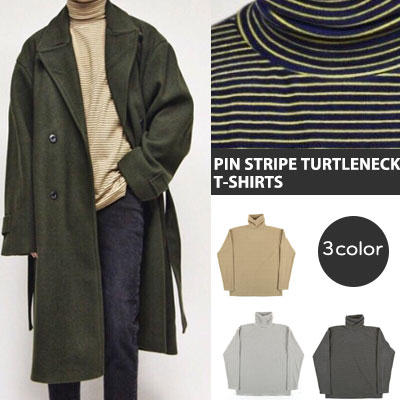 [UNISEX] PIN STRIPE TURTLE NECK LONG SLEEVE T-SHIRTS(3color)