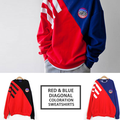 [UNISEX] RED/BLUE DIAGONAL COLORATION SWEATSHIRTS(2color)