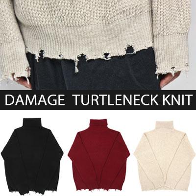[Ram's Wool 70%] DAMAGE TURTLE NECK KNIT (3color)