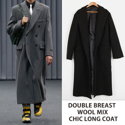 DOUBLE BREAST WOOL MIX CHIC LONG COAT (2color)