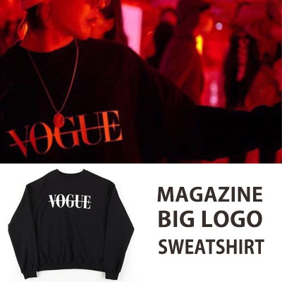 [UNISEX] BIGBANG/GD/G-DRAGON STYLE MAGAZINE BIG LOGO SWEATSHIRTS black ver.