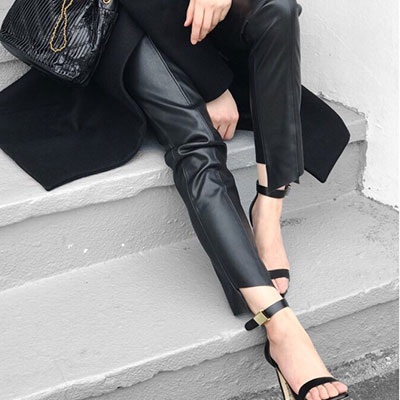 【FEMININE : BLACK LABEL】CUTOUT HAM LEATHER PANTS(2size)