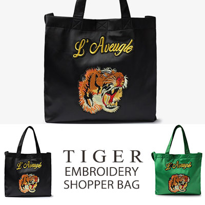 [UNISEX] TIGER EMBROIDERY SHOPPER BAG(2color)