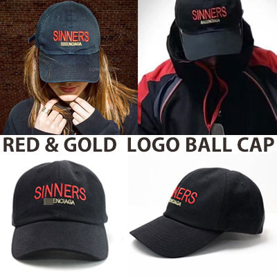 [UNISEX] RED/GOLD GLITTERING LOGO BALL CAP
