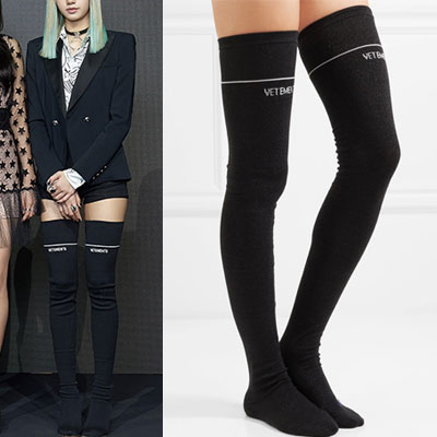 BLACKPINK st. WHITE ONE LINE/LOGO BLACK LONG KNEE SOCKS