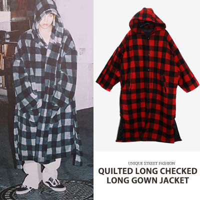 [UNISEX] QUILTED LONG CHECKED LONG GOWN JACKET(2color)