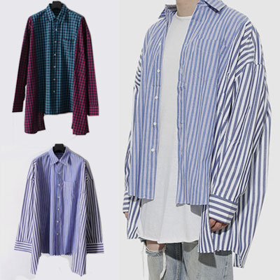 [UNISEX] UNBALANCE PATCH STRIPE CHECK SHIRTS(2color)