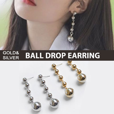 [original]TWICE jungyeon st./One more time MV/SILVER GOLD BALL DROP EARRIN(2color)