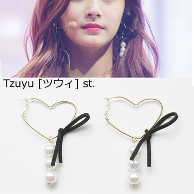 [original]TWICE TZUYU st. RIBBON PEARL HEART RING EARRING