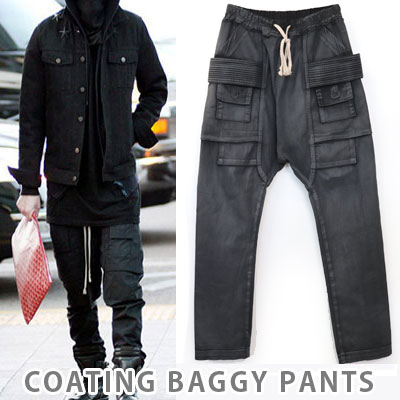 ★ stock completion ★BIGBANG of G-DRAGON, 2ne1 bomb worn in roommate, SOL Fashion |. RICK OW * NS st coating baggy pants (unisex)REORDER