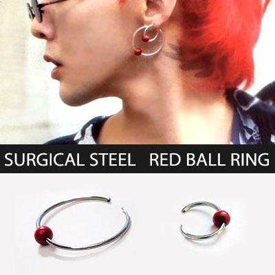 [unisex][2ea/1set]BIGBANG G-DRAGON/GD st. BIG&SMALL SURGICAL STEEL RING RED BALL