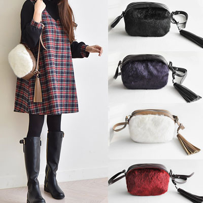 FUR/TASSEL CROSS BAG(4color)