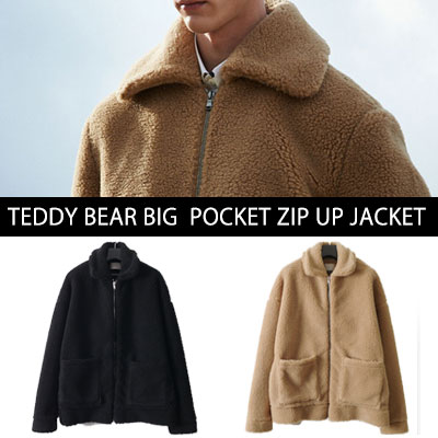[UNISEX] TEDDY BEAR BIG POCKET ZIPUP JACKET(2color)