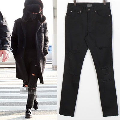 BTS JIN,G-DRAGON STYLE! CHIC MOOD MULTI DESTROYED BLACK JEANS(3size)