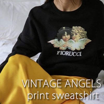 【FEMININE : BLACK LABEL】VINTAGE ANGELS PRINT SWEATSHIRTS(black)