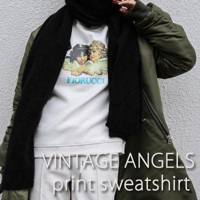 【FEMININE : BLACK LABEL】VINTAGE ANGELS PRINT SWEATSHIRTS(white)