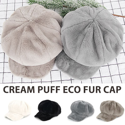 [UNISEX] CRAM PUFF ECO FUR NEWSBOY CAP(4color)