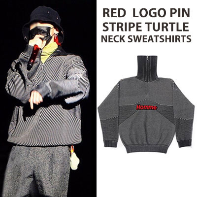 High Quality/RED LOGO PIN STRIPE TURTLE NECK SWEATSHIRTS