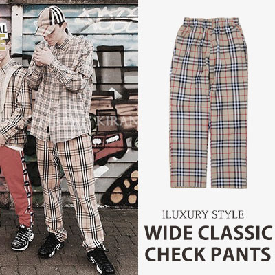 [UNISEX] BTS/LUXURY style. WIDE CHECK PANTS(3color)