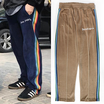 [UNISEX] RAINBOW SIDE LINE VELVET TRACK PANTS(3color)