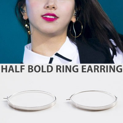 [original]TWICE Chaeyoung style! HALF BOLD RING GOLD&SILVER EARRING