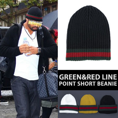 [UNISEX] GREEN/RED LINE POINT SHORT BEANIE(3color)