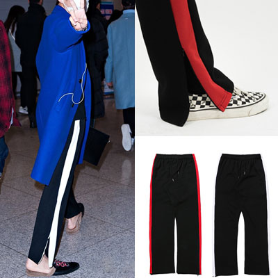 [UNISEX] BTS V st./RED /WHITE LINE POINT SIDE ZIPUP PANTS (2color)