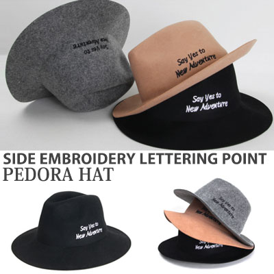[UNISEX] SIDE EMBROIDERY LETTERING POINT PEDORA(3color)