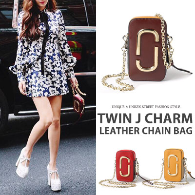 Jessica st. [cow hide]TWIN J CHARM LEATHER CHAIN BAG(3color)