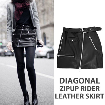【FEMININE : BLACK LABEL】DIAGONAL ZIPUP RIDER LEATHER SKIRT(2size)