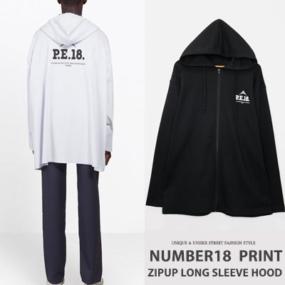 [UNISEX] NUMBER18 PRINT ZIPUP LONG SLEEVE HOOD(2color)