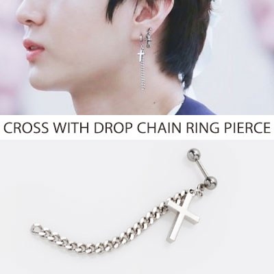 [UNISEX][1ea] VIXX STYLE/ SIMPLE CROSS WITH DROP CHAIN RING PIERCE(3type)