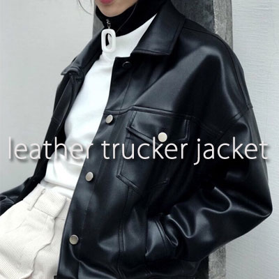 【PAPER MOON】 LEATHER TRUCKER JACKET