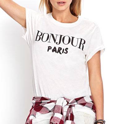 【FEMININE : BLACK LABEL】BONJOUR PARIS PRINT SHORT SLEEVE T-SHIRTS white ver.