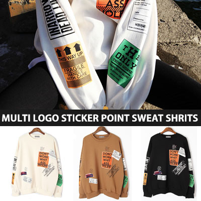 [UNISEX] MULTI LOGO STICKER POINT SWEATSHIRTS(3color)