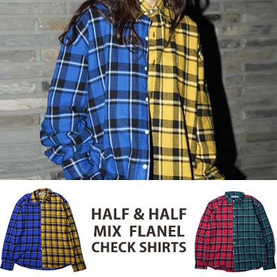 ★40%SALE★[UNISEX] WANNA ONE Kang daniel,J-park st./HALF&HALF MIX FLANEL CHECK SHIRTS(2color)