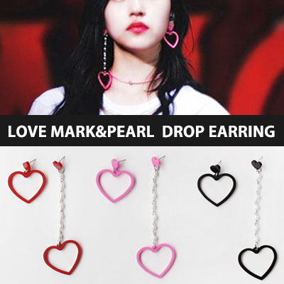 [original] TWICE Mina st./LOVE MARK&PEARL DROP EARRING(3color)