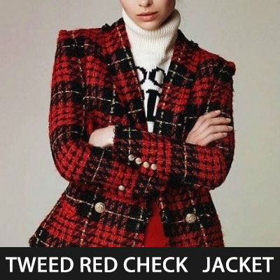 IU st. TWEED RED CHECK DOUBLE BREASTED JACKET(3size)