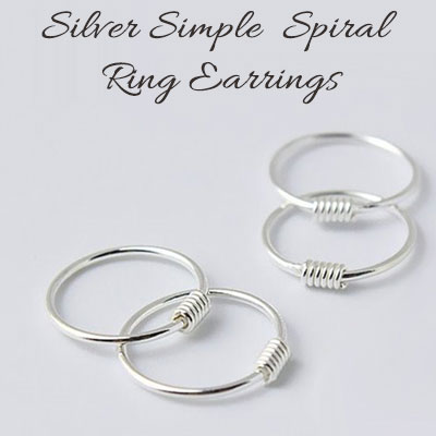 SILVER 925 SIMPLE SPIRAL RING EARRINGS(2ea)