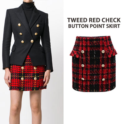 TWEED RED CHECK BUTTON POINT SKRTS(3size)
